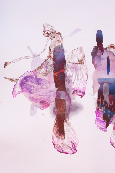 """""""Sus Orchidae""""; Black rice dye, purple sweet potato dye, red wine, bleach, digitally altered photographs, newsprint, aerosol paint, ink and colored pencil on paper; 78 x 108 cm.; 2015"""