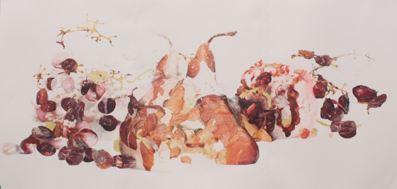 "Title: ""Grapes, Pear and Pomegranate Rot and Repose"" Medium: Digitally altered photographs, acetone photograph transfer, colored pencil, ink, faux and 18 karat gold leaf on paper. Dimensions: 44"" x 89"" Year: 2011"