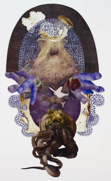 """""""Emperor of the Double Rosette"""" 2017; Emperor rice dye, blue cabbage dye, various organic materials, rice paper, and inkjet prints on paper. 77 x 45 cm."""