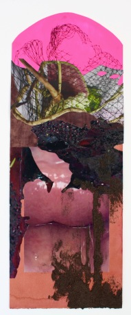 """""""Velvet Metalmouth"""" 2017; Logwood/Bloodwood dye, emperor rice dye, synthetic pigment, aluminum shavings and acrylic, ink, rice paper, and inkjet prints on paper. 61.5 x 23 cm."""