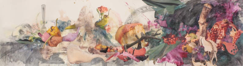 "Title: ""Bulbouscarcinotopia"" Medium: Red and yellow beet dye, concord grapes, pomegranate, acetone photograph transfer, colored pencil, graphite, digitally altered photographs and ink on paper. Dimensions: 16"" x 72"" Year: 2012"