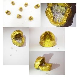 Sophie Xie; Plaster casts, cubic zirconia, acrylic paint; 2016
