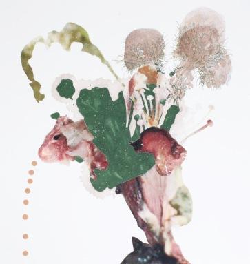 """Morel skins"" 2017; indigo, synthetic pigment, emperor rice dye, logwood/bloodwood dye, acrylic medium, pen, inkjet prints on rice paper, on paper. 31 cm. x 29 cm."