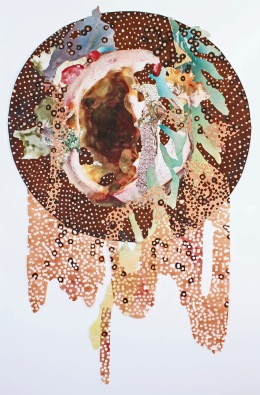 """Staurozoanastic Cavity"" 2017; Emperor rice dye, logwood/bloodwood dyed paper, aerosol paint, inkjet prints on rice paper, rhinestones, aluminum shavings, acrylic medium, and pen, on paper. At largest: 80 cm. x 51 cm."