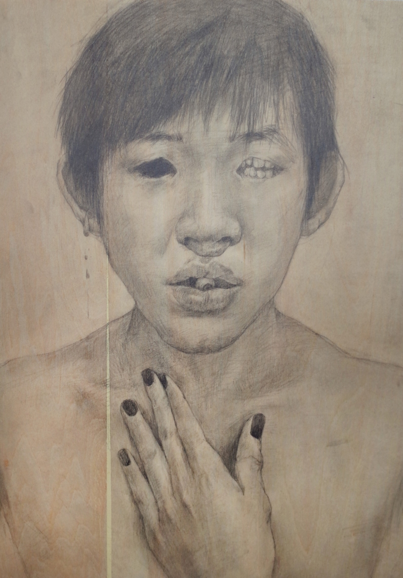 Qiu Chen 2016. CAFA, Introduction to Drawing, Painting and Printmaking course. Graphite on wood.