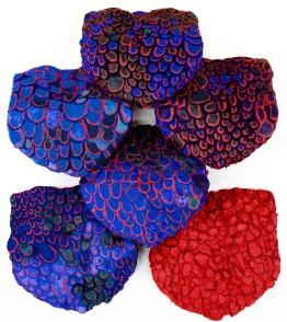 Rachel Sun Harris 2016. CAFA, Craft/New course. Ceramic roof tiles, plaster, acrylic, mineral pigments and sap binder.